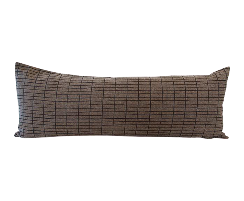Espresso Extra Long Lumbar Pillow with Printed Black Grid - 14x36