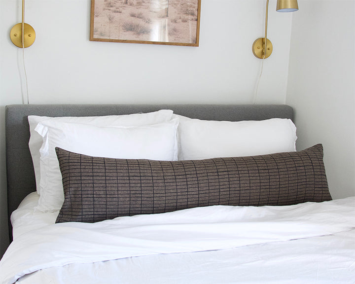 Espresso Extra Long Lumbar Pillow with Printed Black Grid - 14x50