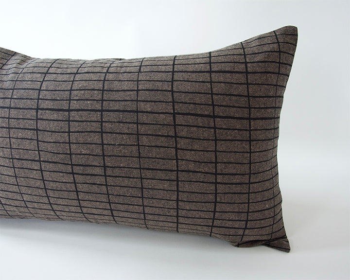 Espresso Lumbar Pillow with Printed Black Grid - 14x22