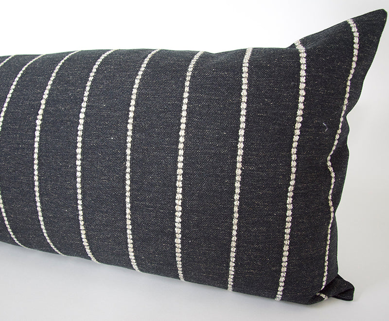 Evie Black Extra Long Lumbar Pillow (Vertical) - 14x36