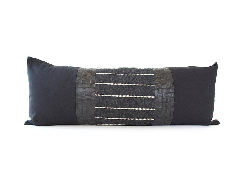 Mixed: Evie / Faux Basketweave Leather Extra Long Lumbar Pillow - 14x36