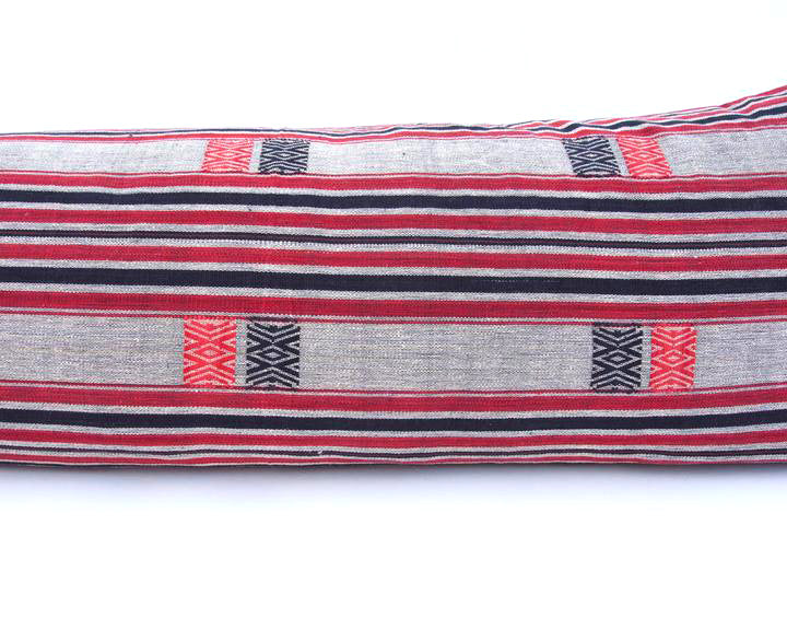 Naga Tribal Extra Long Lumbar Pillow - Grey, Red & Black - 14x50 #2