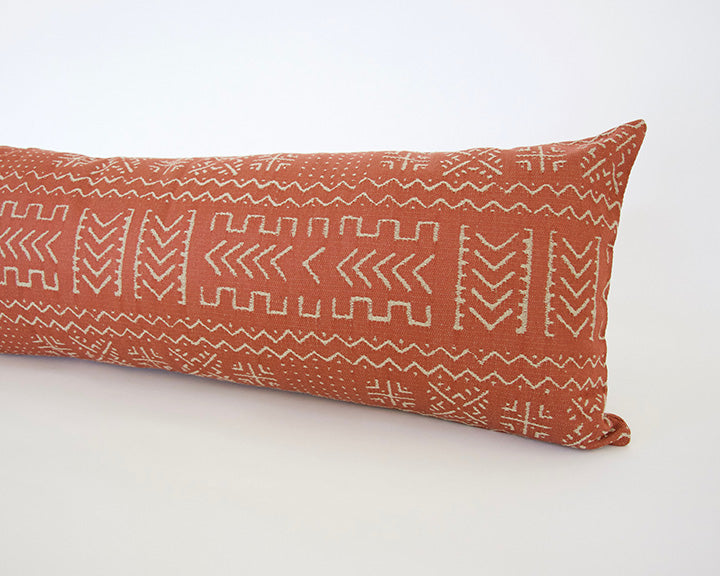 (Restocking End of February) Tribal Rust + Cream Extra Long Lumbar Pillow - 14x36