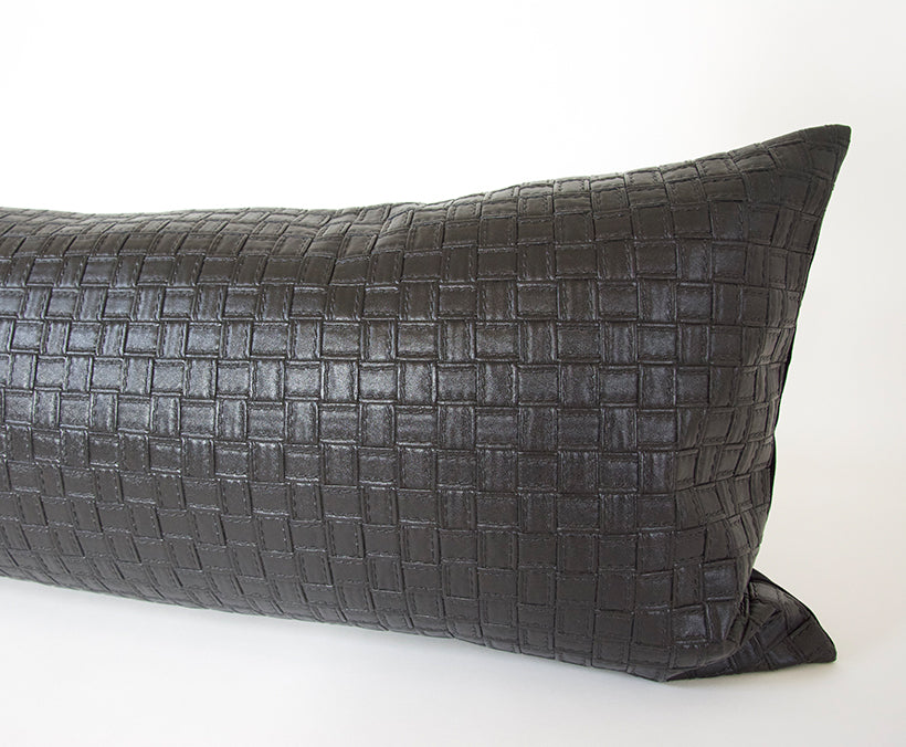 Faux Leather Basketweave Black Extra Long Lumbar Pillow - 14x50