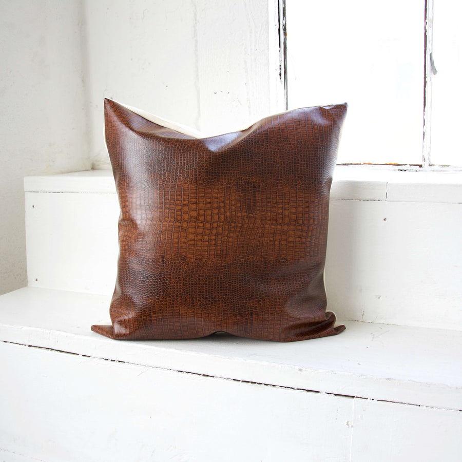 Brown Faux Reptile Leather Pillow - 22x22