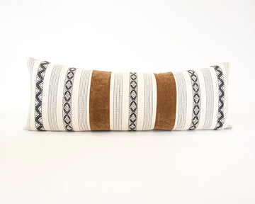 (Available again mid August) Mix & Match: Golden Brown / Zig Zag Extra Long Lumbar Pillow - 14x36