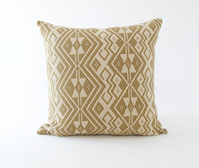 White Mud Cloth, Golden Ebony & Woven Kale Pillow Combo