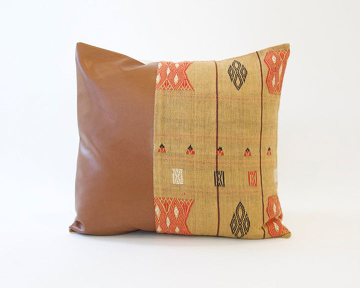 Mix & Match: Golden Naga Tribal Cloth / Faux Leather Pillow - #2 - 22x22