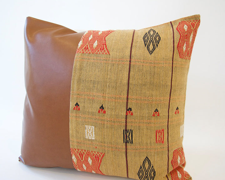 Mix & Match: Golden Naga Tribal Cloth / Faux Leather Pillow - #2 - 20x20