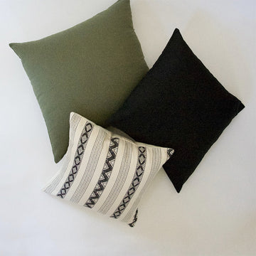 Army Green, Solid Black, and White & Black Zig Zag Stripes - 3 Piece Pillow Set