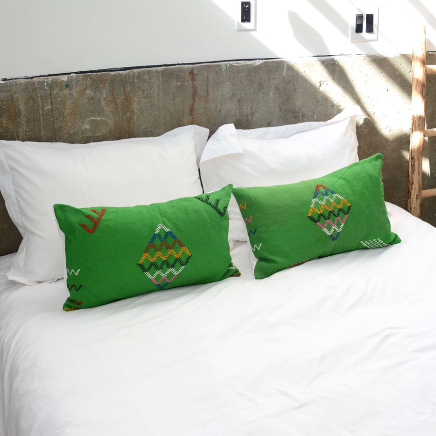 Green-cactus-silk-lumbar-pillow