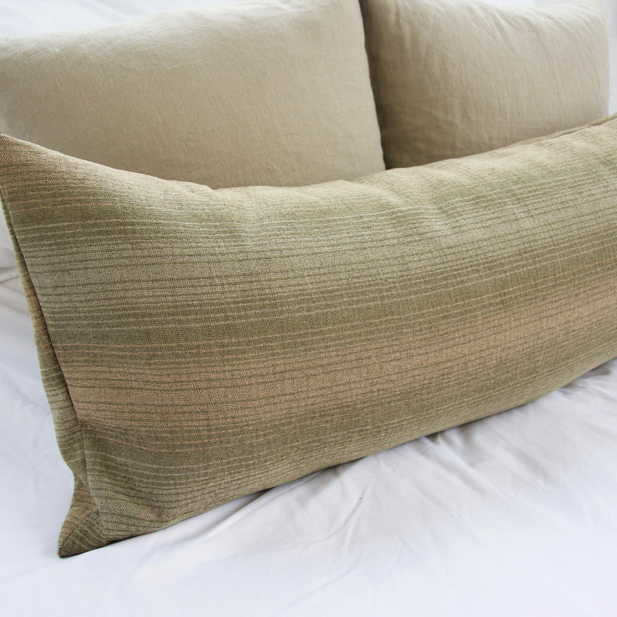 Green & Tan Striped Extra Long Lumbar Pillow - 14x36
