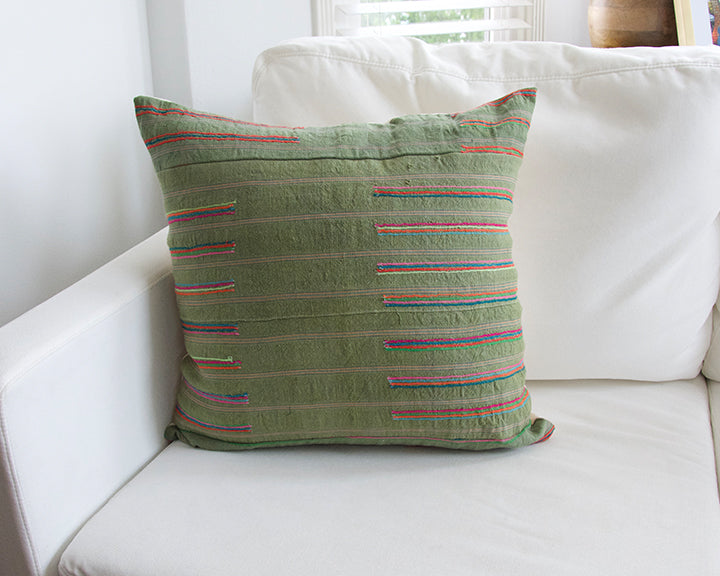 Green Hmong Accent Pillow - 22x22