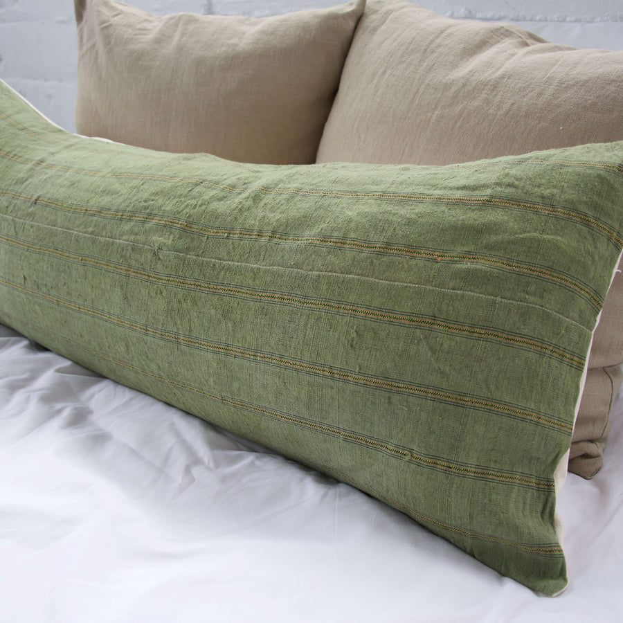 Vintage Hmong Green Extra Long Lumbar Pillow #4 - 14x36