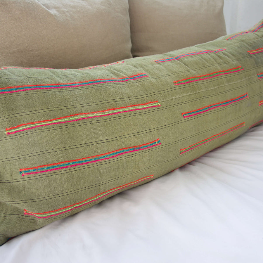 Vintage Hmong Green Lumbar Pillow #2 - 14x36