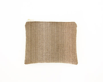 Green & Tan Striped Accessory Bag - #1