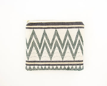 Green and Cream Naga Tribal & Leather Accessory Bag - #1