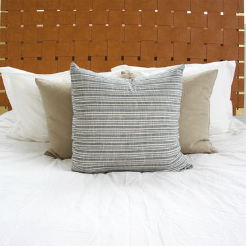Classic Grey & White Striped Accent Pillow - 24x24