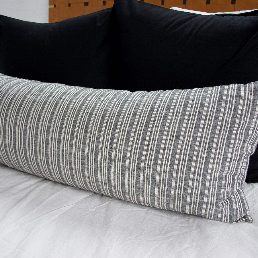 Classic Grey & White Striped Extra Long Lumbar Pillow - 14x36