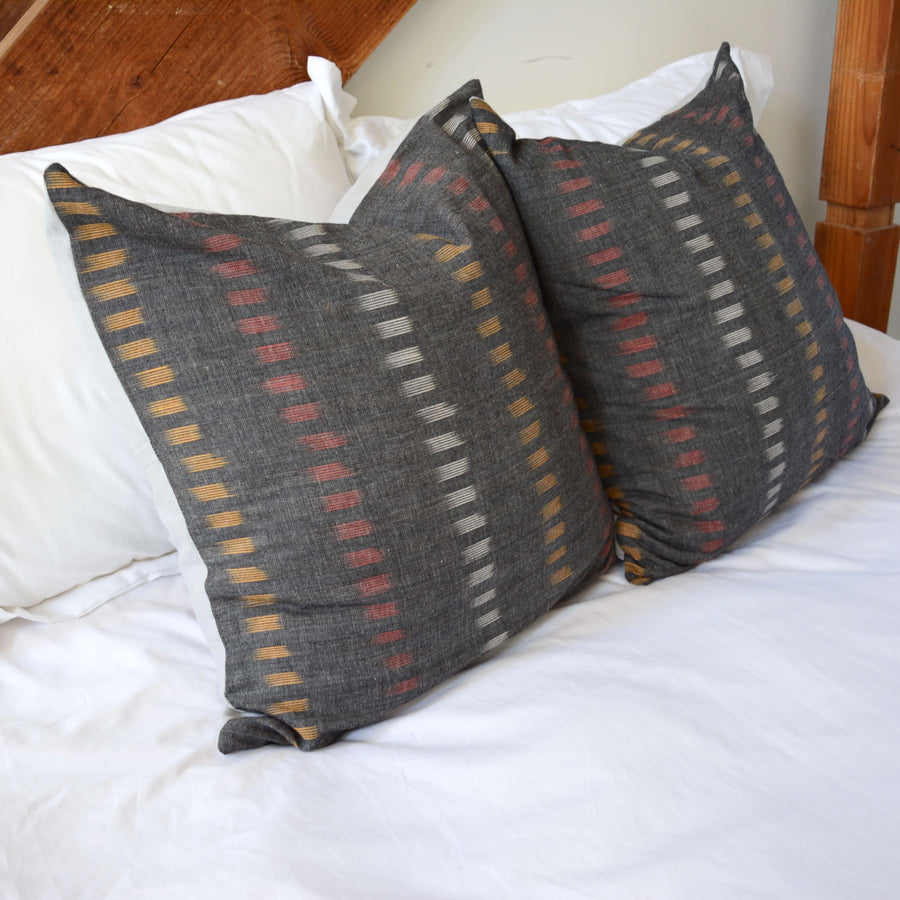 Grey Dashed Ikat Cotton Pillow - 20x20