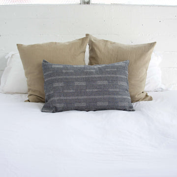 Grey Dashed Lumbar Pillow - 14x22