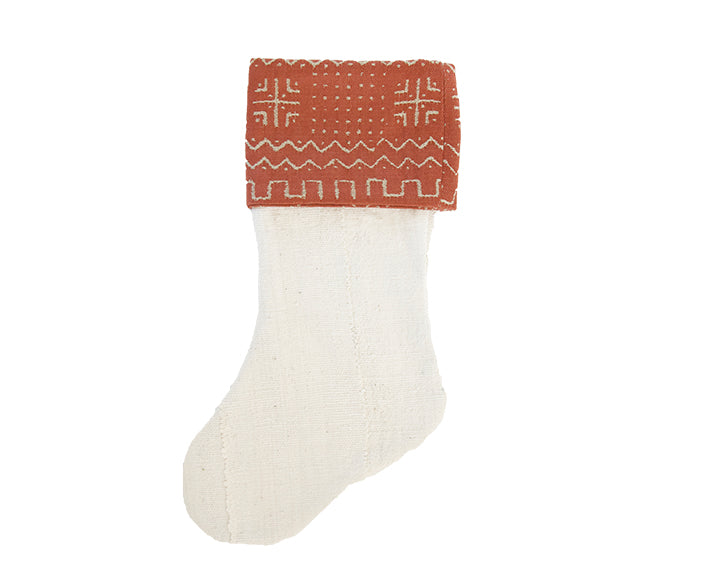 White/Rust Mud Cloth Christmas Stocking