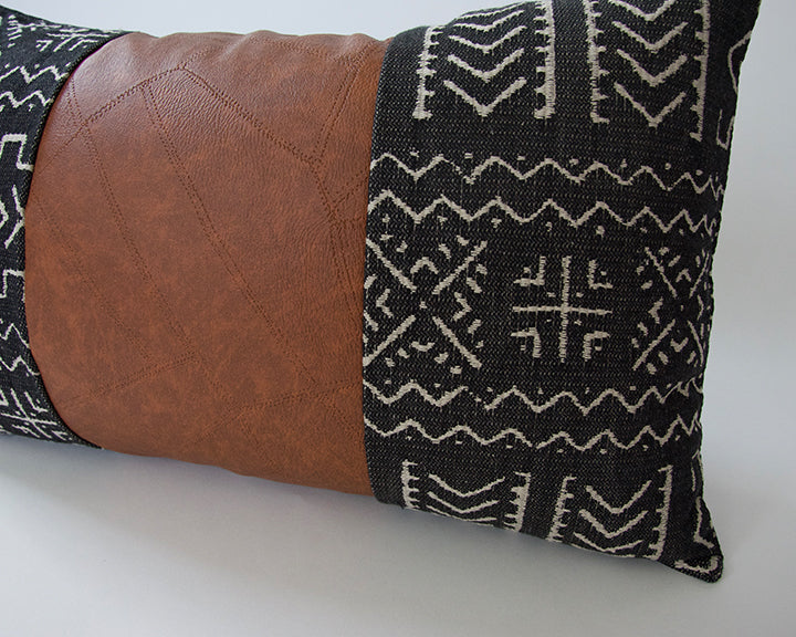 Mix & Match: Black Tribal / Faux Leather Patchwork Pillow - 14x22
