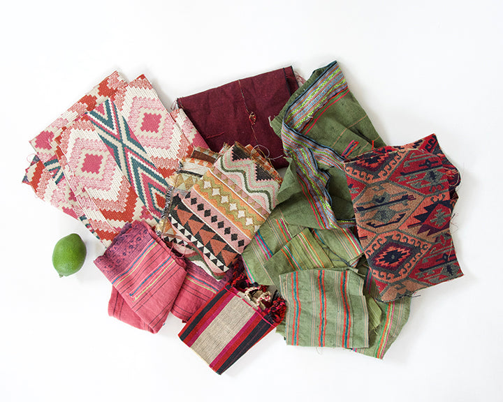 Fabric Bundle: Pinks, Reds and Green #1