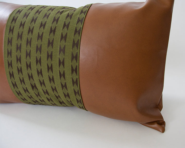 Mix & Match: Olive Green / Faux Leather Pillow - 14x22