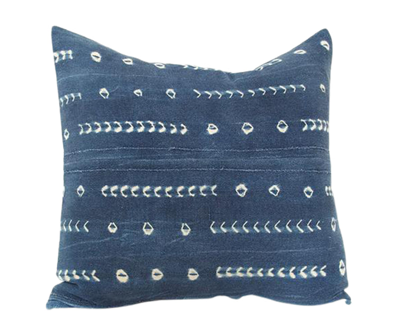 Indigo African Mud Cloth Pillow - 20x20 #9