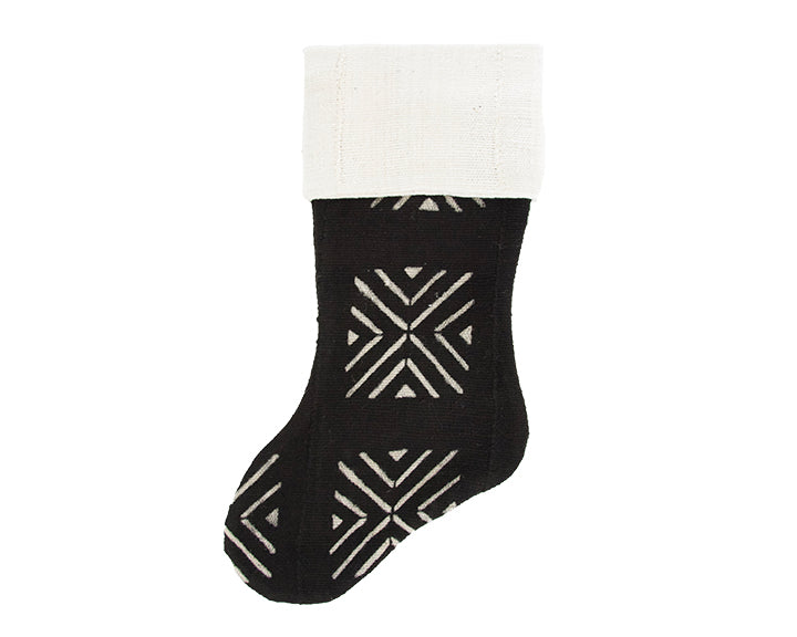 Black Mud Cloth Christmas Stocking - X