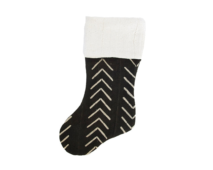 Black Mud Cloth Christmas Stocking - Chevron