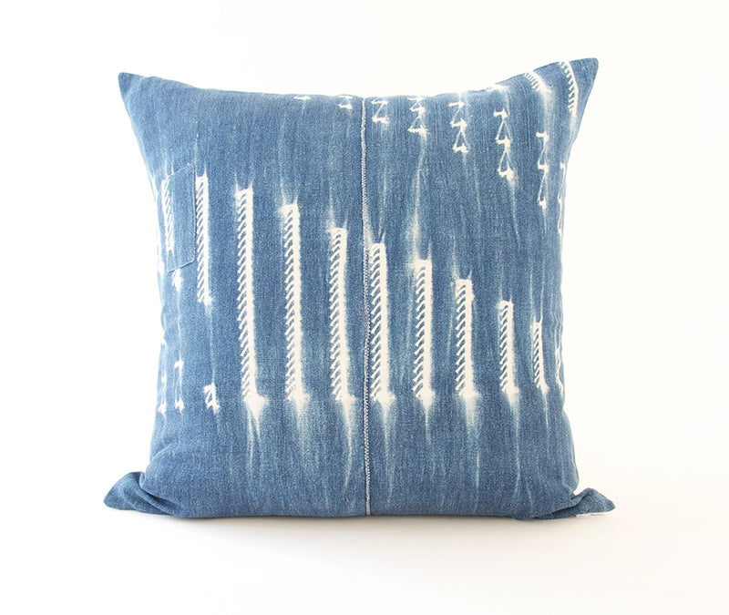 Indigo African Mud Cloth Pillow - 20x20 #12