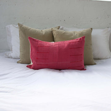 Hot Pink Hmong Lumbar Pillow #2 - 14x22