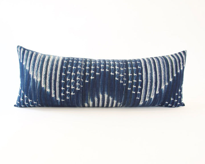 Indigo African Mud Cloth Extra Long Lumbar Pillow - 14x36 #45