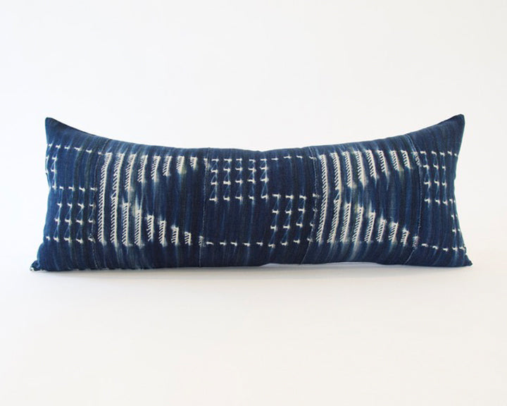 Indigo African Mud Cloth Extra Long Lumbar Pillow - 14x36 #44