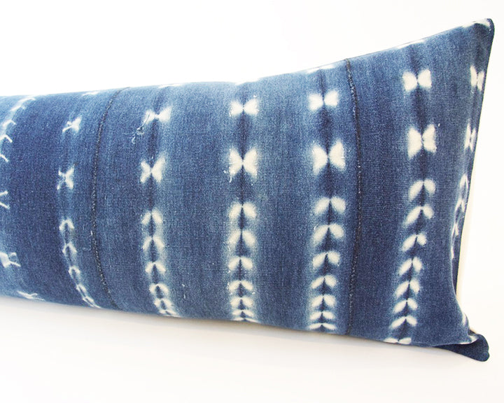 Indigo African Mud Cloth Extra Long Lumbar Pillow - 14x36 #47