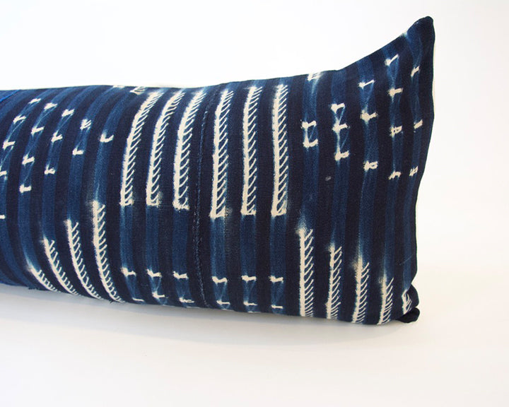 Indigo African Mud Cloth Extra Long Lumbar Pillow - 14x36 #49