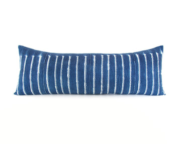 Indigo African Mud Cloth Extra Long Lumbar Pillow - 14x36 #52