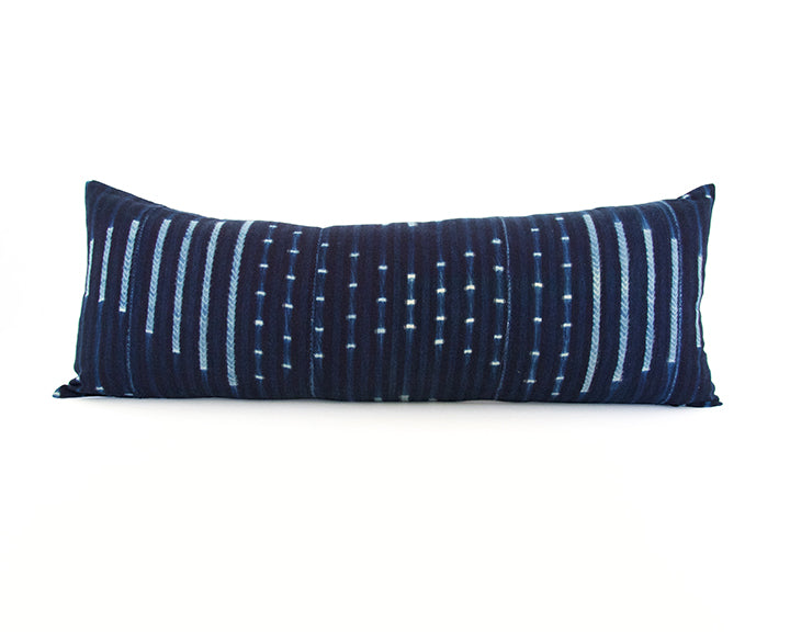 Indigo African Mud Cloth Extra Long Lumbar Pillow - 14x36 #54