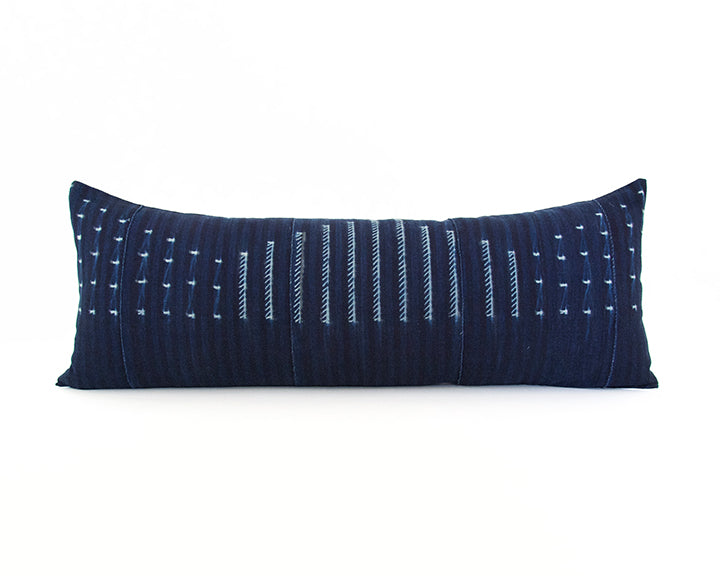 Indigo African Mud Cloth Extra Long Lumbar Pillow - 14x36 #56