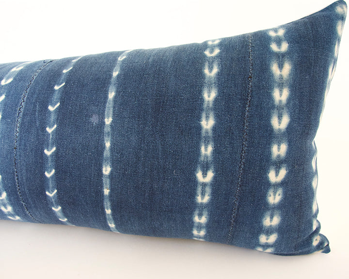 Indigo African Mud Cloth Extra Long Lumbar Pillow - 14x36 #58