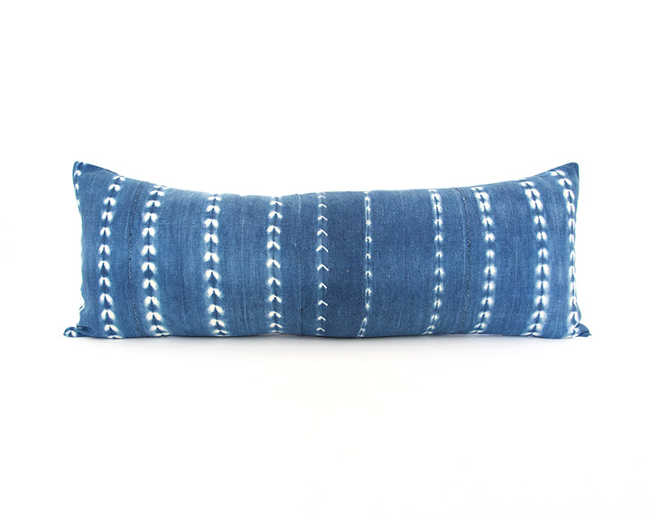 Indigo African Mud Cloth Extra Long Lumbar Pillow - 14x36 #59