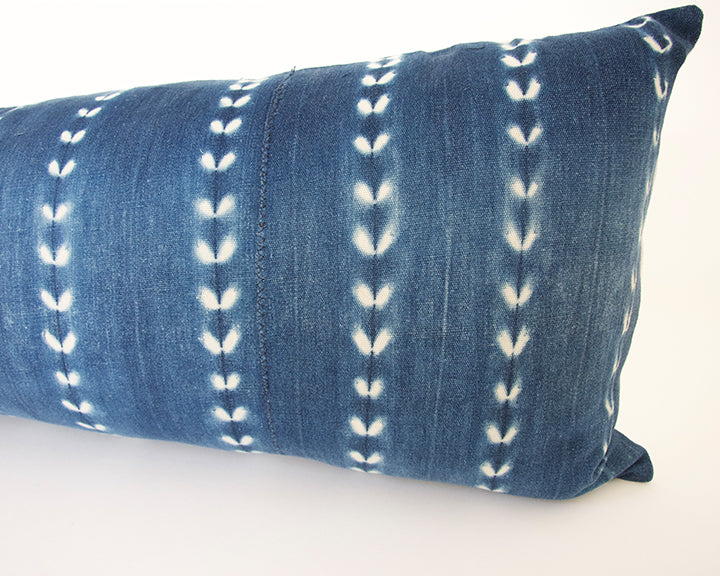 Indigo African Mud Cloth Extra Long Lumbar Pillow - 14x36 #60
