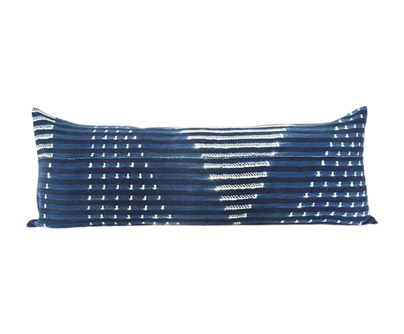Indigo African Mud Cloth Extra Long Lumbar Pillow - 14x36 #62