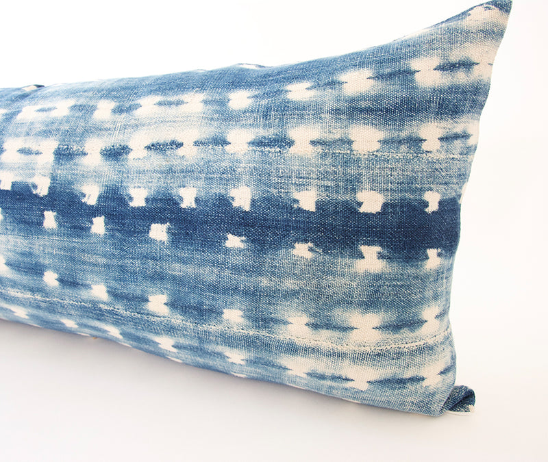 Indigo African Mud Cloth Extra Long Lumbar Pillow - 14x36 #65