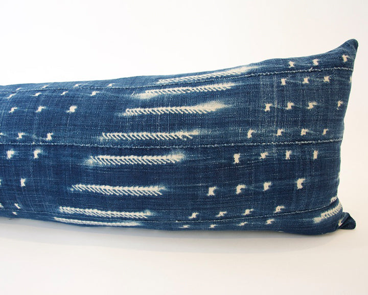 Indigo African Mud Cloth Extra Long Lumbar Pillow - 14x50 #15