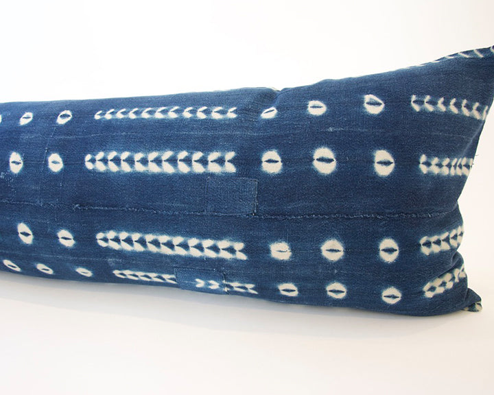 Indigo African Mud Cloth Extra Long Lumbar Pillow - 14x50 #22