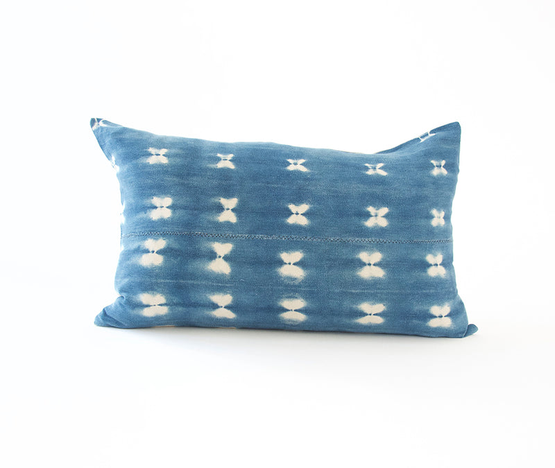 Indigo African Mud Cloth Lumbar Pillow - 14x22 #15