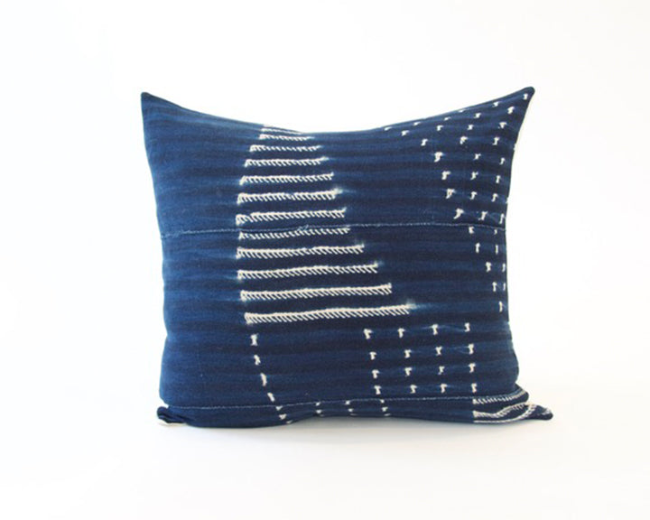Indigo African Mud Cloth Pillow - 22x22 #7